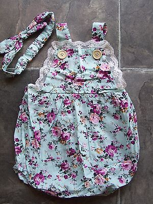 BNWNT Baby Girl's Pink & Blue Floral Onesie/Romper/Sunsuit & Headband Size 00