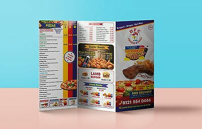 A3 / A4 / B4  or A5 Folded Leaflets / Flyers / Menus Printed Full Colour