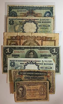 A Selection of Seven Old Commonwealth Banknotes