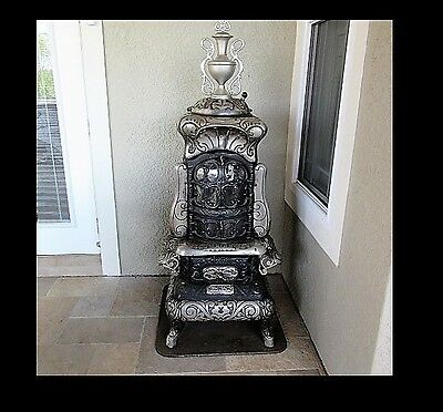 Ant Cast Iron Keeley Stove Co Pa. Model Columbian Joy Parlor Stove wood burning