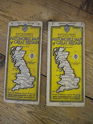 Two Bartholomews  Aa  Vintage Maps Of Great Britain- No's 2 & 4 -1938