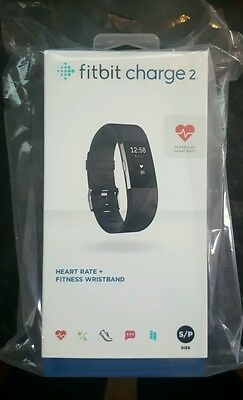 Fitbit Charge 2..Heart Rate + Fitness Wristband..Black S/P * Brand New Sealed *
