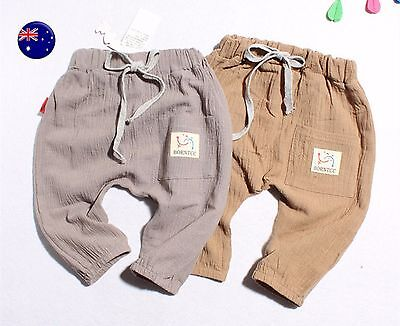 NEW Kids Boys Children Beige Summer Thin Linen Cotton Capri bloomer Pants