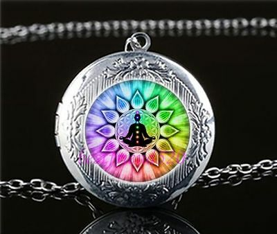 Flower of Life Lotus Sacred Geometry Yoga Chakra Pendant Necklace Locket Pouch