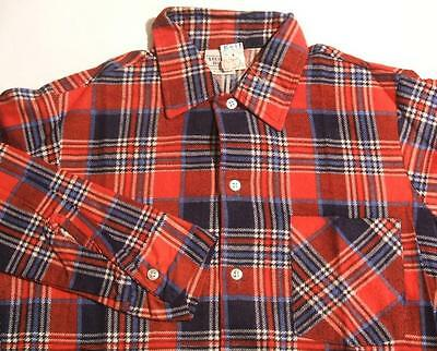 NEW DEADSTOCK NOS VTG 60s PLAID COTTON FLANNEL SHIRT ~ YOUTH BOYS Sz 16 X-LARGE