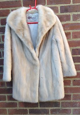 Vintage Blonde Pastel Real Mink Fur Palomino Coat Jacket Furrier Made Rare  S 10