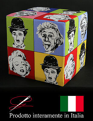 Pouff Pouf Puff Cubo Tessuto Cotone Fantasia Pop-Art Made In Italy Idea Regalo