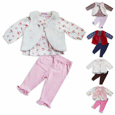 3PC Baby Girls Faux Fur Gilet Set By Chloe Louise Long Sleeve Outfit Top Bottom