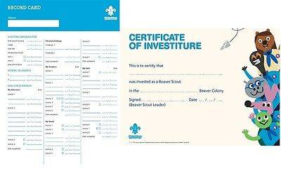 Beaver Scout Investiture Certificate 2015 version Pkt of 10  or Record Cards NEW