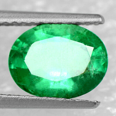 1.59 Cts Natural Top Green Emerald Loose Gems Oval Cut Untreated Zambia 9x7 mm
