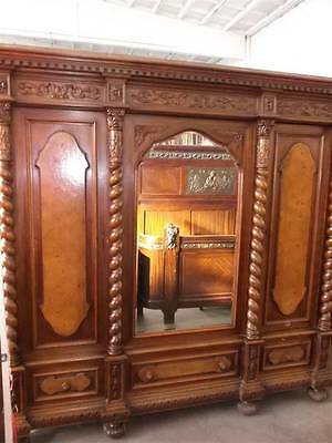 Beautiful Carved Italian Designer Walnut Antique Bedroom Set Armoire - 13It089A