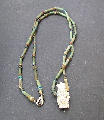 NILE  Ancient Egyptian Bes Amulet Mummy Bead Necklace ca 300 BC