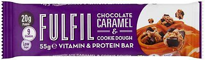 16 X Fulfil Protein Bars with Vitamins Chocolate And Caramel Cookie Dough 55g
