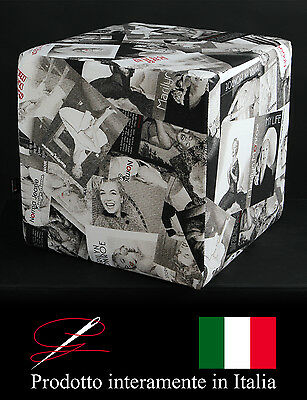 Pouff Pouf Puff Cubo Tessuto Cotone Marilyn Monroe Made In Italy Idea Regalo