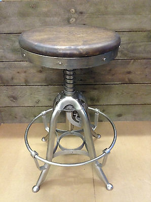 Industrial bar stool wooden top shabby vintage chic kitchen side table seat 183