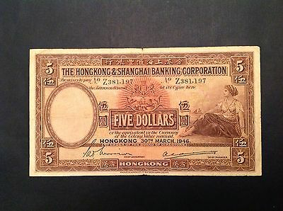 -Hong Kong & Shanghai Bank Five 5 Dollars 1946 P 173 e