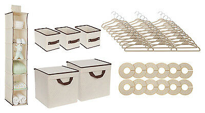 48 Piece Children Baby Kids Nursery Storage Set Organizer Shelf Bin Hanger Beige