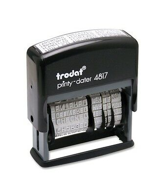 Trodat Economy 12-Message Stamp, Dater, Self-Inking, 3/8 x 2 Inches, Black