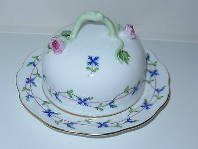 Herend Blue Garland Round Covered butter Dish with Stem Rose Handle