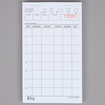 NEW Choice 1 Part White Waiter / Waitress Order Pad - 50/Case 105A4716WP