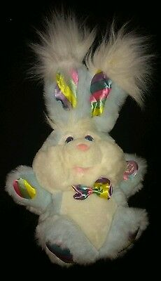 "Dan Dee GIGGLE BUNNY blue Plush laughs shakes cheeks light up ""That Tickles"""