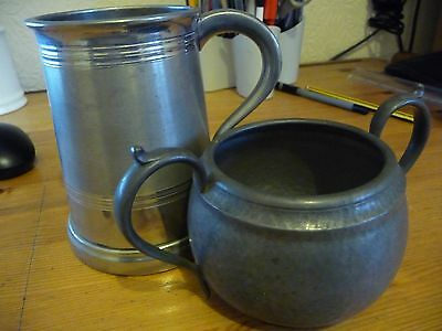 Vintage English Pewter Tankard and Bowl good Condition