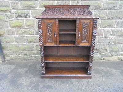 Antique Carved Oak Open Bookcase Bookshelves