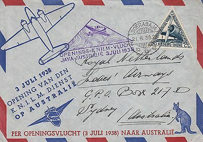 G 46 Java Australia First Flight Cover KNILM July 1938; AAMC 815