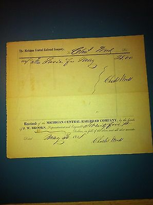 1848 the michigan Central RailRoad company reciept signed Charles Wood