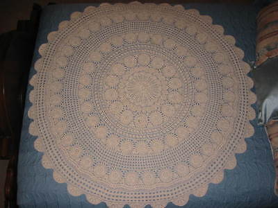 Vintage Crochet Round Tablecloth/Tabletopper 52 Inch