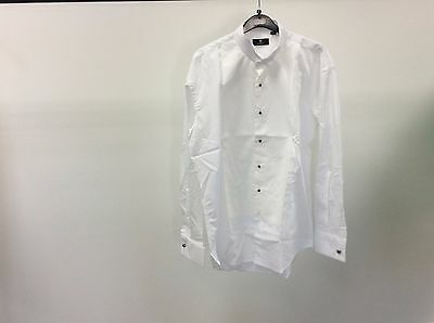 Mens White Wing Marcella Stud Button Formal Wedding Dress Shirt Size 16 - 11A345