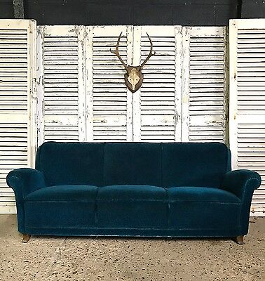 Stunning Vintage Mid Century French Teal Peacock Blue Sofa