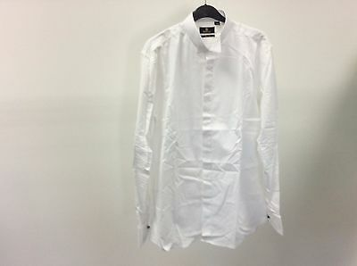 Mens White Wing Plain Slim Fit Formal Tuxedo Evening Dress Shirt Size 16- 11A346