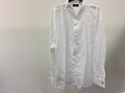 Mens White Wing Plain Formal Tuxedo Evening Wedding Dress Shirt Size 19- 11A347