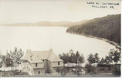 Lake St. Catherine,poultney,vt.real Photo, H.b.rood,lakefront House,horse& Buggy