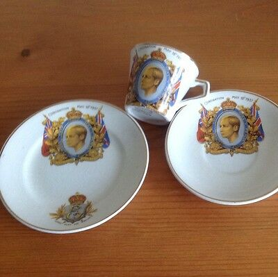 KING EDWARD VIII - 1937 Coronation Cup, Saucer and Side Plate