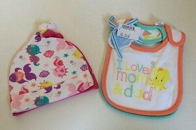 I Love Mom And Dad 2 Pack Of Bibs And 2 Pack Baby Girl Hats Size 6-12 Months New
