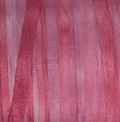 Hand Dyed Silk Ribbon for embroidery 4mm - 3 meters Cherry Blossom