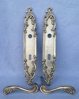 Antique french door handles set, knob mid- 1900's bronze mansion castle
