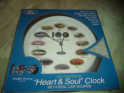 """Ford Clock 100th Anniversary Wall Clock Real CAR SOUNDS AUDIO """"heart & Soul"""""""