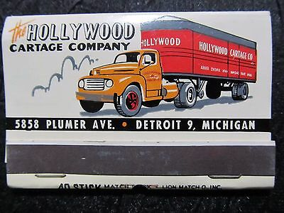 c1940 DETROIT HOLLYWOOD CARTAGE COMPANY UNUSED MATCHBOOK~vtg Trucking Semi-Truck