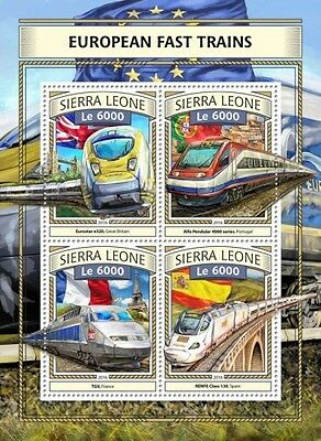 Z08 IMPERFORATED SRL161111a SIERRA LEONE 2016 European fast trains MNH ** Postfr