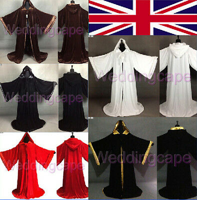 Velvet Hooded Cloak Halloween Renaissance Wizard wicca robe Gothic LARP Costumes