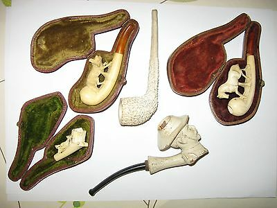 Antique Meerschaum pipe lot collection