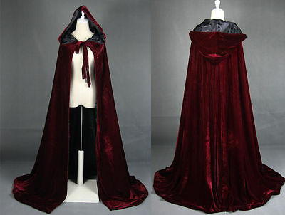 Wine black Velvet Hooded Cloak Medieval Cape Witchcraft Wicca Robe Larp Gothic