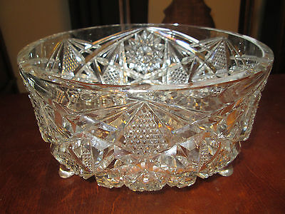 Antique Signed Birks Gundy Clapperton Cut Glass Footed Bowl ABP