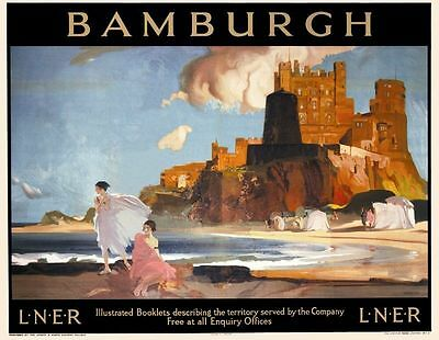 Bamburgh Northumberland reproduction LNER 50x70cm Railway Poster NEW