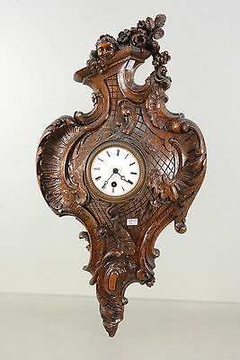 Antique 19th c  French Wood carved putti cherubs wall clock black forest design