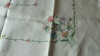 Vintage Hand Embroidered Light Cream Linen Tablecloth - 42 X 40 Flowers