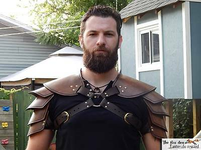 Viking leather shoulder armor. Single or double, black or brown. High quality!!!